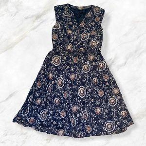 Ann Taylor Blue Orange Fall Floral Belted Dress